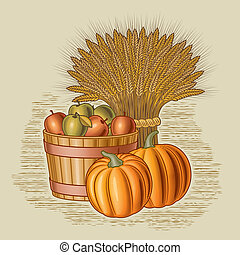 Retro harvest still life in woodcut style. Vector illustration with clipping mask.