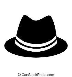 Retro hat cap , isolated flat icon with black and white...