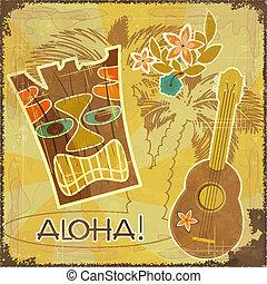 retro, havaiano, cartão postal