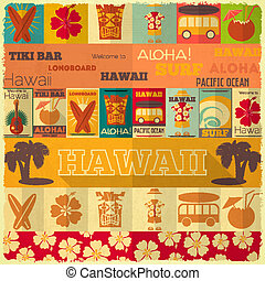 Hawaii Surf Retro Card in Vintage Design Style. Vector Illustration.