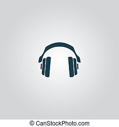 Retro headphone. Flat web icon or sign isolated on grey background. Collection modern trend concept design style vector illustration symbol