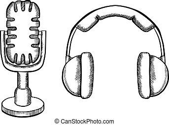 Retro headphones and desktop microphone