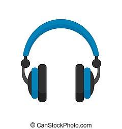 Retro headphones icon, flat style