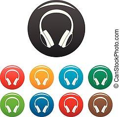 Retro headphones icons set color