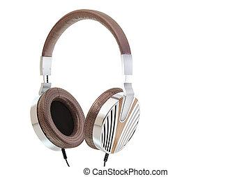 Retro headphones. Vintage old style 3d render illustration