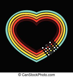 Retro heart dots background