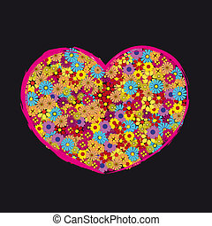 Retro Heart Flower Love - Retro heart in flowers for love.