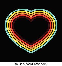 Retro heart lines background