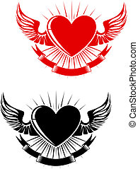 Retro heart tattoo - Retro heart with wings for tattoo...
