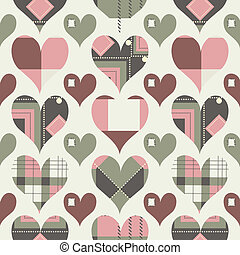 Retro hearts seamless pattern