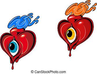 Retro hearts with eye
