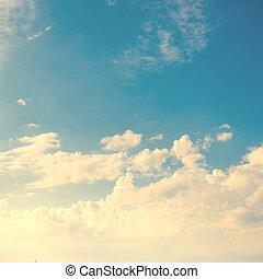retro, hemel, en, fantastisch, zacht, wite wolken,...