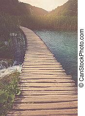 retro, hiking paadje, met, zonlicht, met, instagram, stijl,...