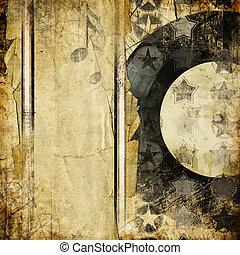 retro, hintergrund, musikalisches