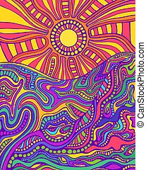 Retro hippie style psychedelic landscape with sun and mountains.
