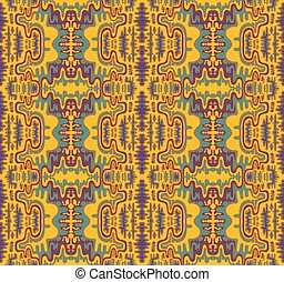 Retro hippie style psychedelic trippy colorful fractal mandala seamless pattern. Decorative abstract element pattern.