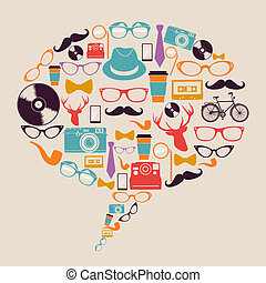 Retro hipster icons social media. - Vintage fashion hipster...