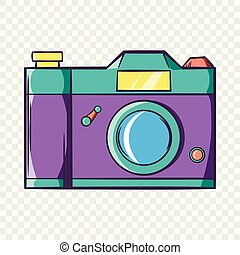 Retro hipster photo camera icon, cartoon style