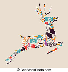 Retro hipsters icons reindeer. - Vintage fashion hipsters...