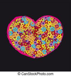 retro, hjärta, blomma, kärlek