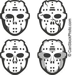 Retro hockey goalie mask - set of four options