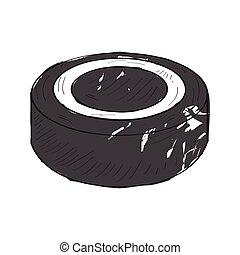 Retro hockey puck