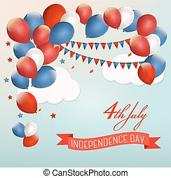 Retro Holiday American background with colorful balloons for 4th of July. Vector.