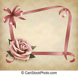 Retro holiday background with pink rose and ribbons. Vector illustration.