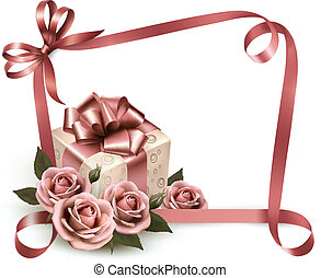 Retro holiday background with pink roses and gift box. ...