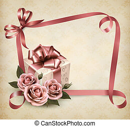 Retro holiday background with pink roses and gift box. Vector illustration.