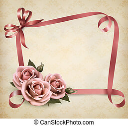 Retro holiday background with pink roses and ribbons. Vector illustration.