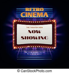 Now open glowing neon and bulb sign cinema movie theater vector retro hollywood cinema 3d glowing light sign movie light display billboard vector illustration stopboris Images