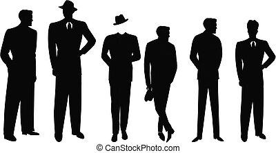 retro, hombres, en, trajes, silueta