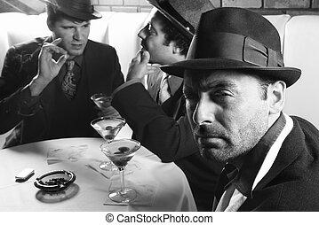retro, hombres, tres, bar.
