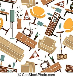 Retro home furnitures seamless pattern background - Retro...