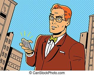 retro, homem, com, óculos, e, telefone
