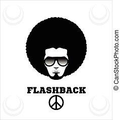 retro, homem, em, 1970s, hairstyle., crespo, 70's.