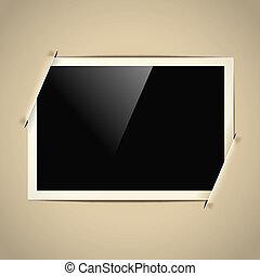 retro horizontal photo frame on paper background