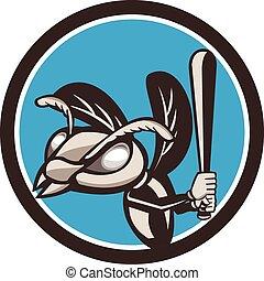 retro, hornet, honkbal speler, cirkel, slaan