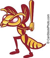 retro, hornet, vrijstaand, honkbal speler, slaan