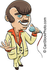 Retro Host - A retro cartoon host holding a microphone.