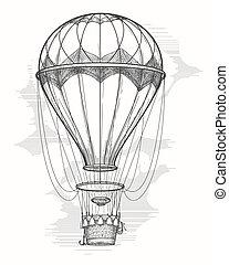 Retro hot air balloon sketch - Retro hand drawing hot air...