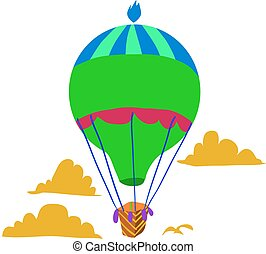Retro hot air balloon sky background flat icon.