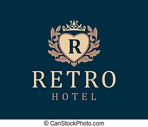 Retro Hotel. Letter emblem R in heart with crown. Vector logo for the hotel, the hotel business. Monogram. Outline logo