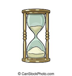 Retro hourglass. Vector vintage engraving