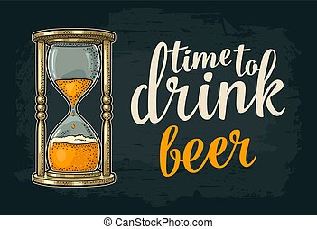 Retro hourglass with beer. Vector vintage engraving