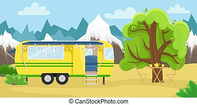 Retro house on wheels for traveling. Car travel. Vector flat illustration. Motorhome in the mountains.
