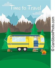 Retro house on wheels for traveling. Car travel. Vector flat illustration. Motorhome in the mountains. Time to travel.