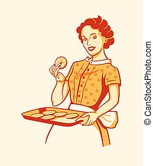 Retro housewife cooking - Retro housewife with fresh baked...