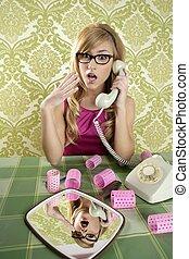 retro, huisvrouw, telefoon, vrouw, ouderwetse , wallpapaper